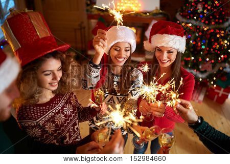 New Year eve with happy friends