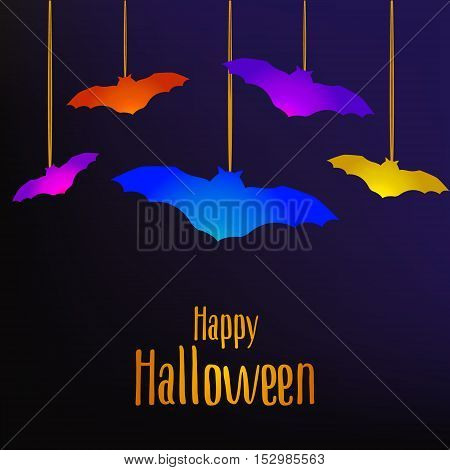 Happy Halloween card with bats. Vector background.