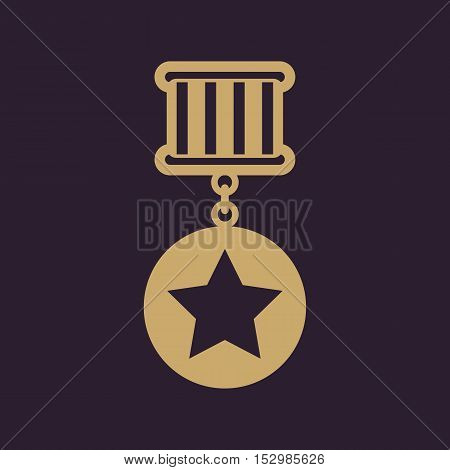 The medal icon. Reward symbol. Flat Vector illustration