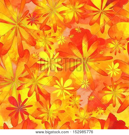 Autumn Floral Seamless Pattern in Warm Colors