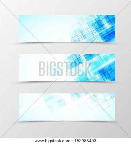 Set of header banner digital design with blue squares in futuristic shiny style. Vector illustration