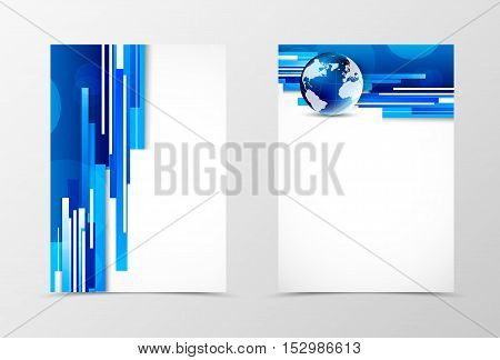 Front and back digital flyer template design. Abstract template with blue lines, globe and transparent circles in futuristic style. Vector illustration