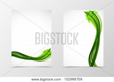 Front and back dynamic flyer template design. Abstract template with green arrows in wave style. Vector illustration