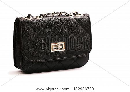 luxury leather female bag isolated on white background