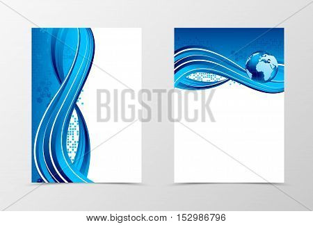 Front and back dynamic wave flyer template design. Abstract template with blue lines, globe and digital geometric mosaic square background in shiny style. Vector illustration