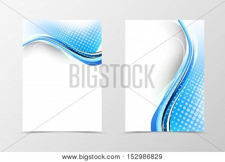 Front and back dynamic wave flyer template design. Abstract template with blue lines and digital halftone background in shiny style. Vector illustration