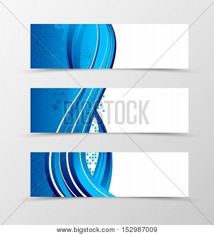 Set of header banner dynamic futuristic design with blue lines and digital geometric mosaic square background in wave style. Vector illustration