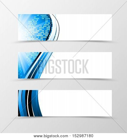 Set of header banner dynamic futuristic design with with blue lines and digital geometric mosaic square background with radiant effect in wave style. Vector illustration