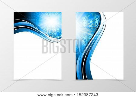 Front and back dynamic wave flyer template design. Abstract template with blue lines and digital geometric mosaic square background with radiant effect. Vector illustration