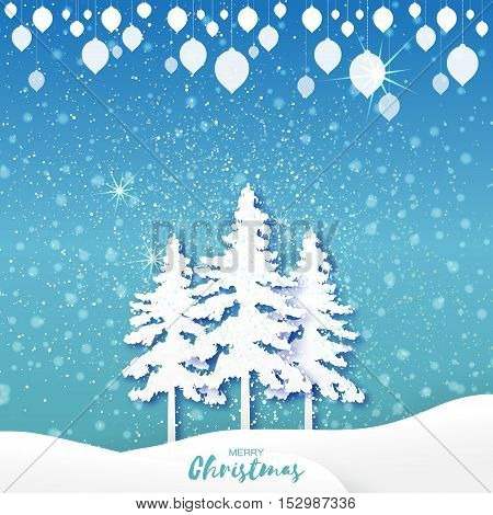 White Origami Merry Christmas Greeting card with Cutout Paper Xmas Tree, garland and landscape on blue background. 2017 New Year holiday. Vector seasonal design illustration