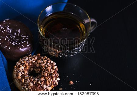 Desk Donuts With And A Tea Cup