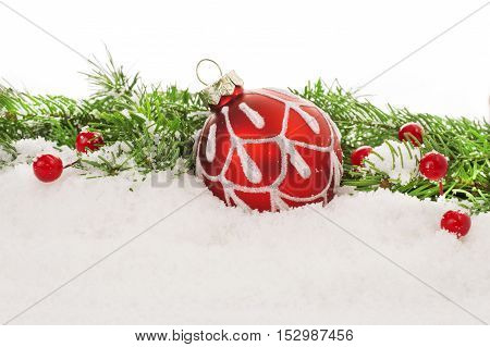 Christmas fir tree on wooden background with space for your text
