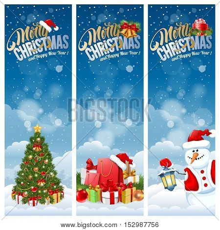 Christmas banners with Christmas tree, Christmas gifts on snowy background. Calligraphy lettering inscription Merry Christmas and Happy New Year. Vector stock illustration.