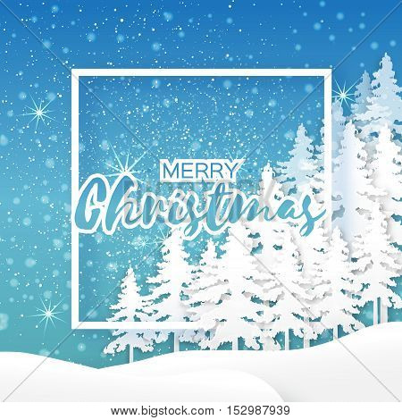 White Origami Merry Christmas Greeting card with Cutout Paper Frame for text, Xmas Tree and landscape on blue background. 2017 New Year holiday. Vector seasonal design illustration