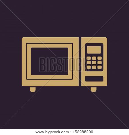 The microwave oven icon. Kitchen symbol. Flat Vector illustration
