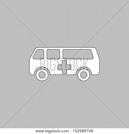 Ambulance Simple vector button. Illustration symbol. Color flat icon