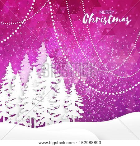 White Origami Merry Christmas Greeting card with Cutout Paper Xmas Tree and landscape on purple polygonal background. 2017 New Year holiday. Vector seasonal design illustration