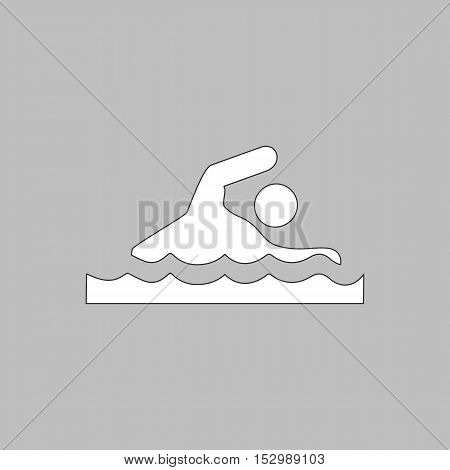 Swimming Simple vector button. Illustration symbol. Color flat icon