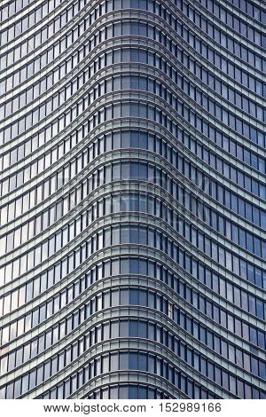 Modern building window. Aluminum decoration of the facade and windows of a modern building. metallic facade of a modern building