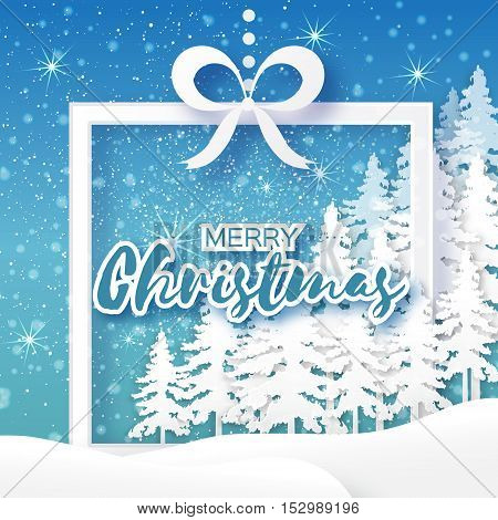 White Origami Merry Christmas Greeting card with Cutout Paper Gift box, Xmas Tree and landscape on blue background. 2017 New Year holiday. Frame for text. Vector seasonal design illustration
