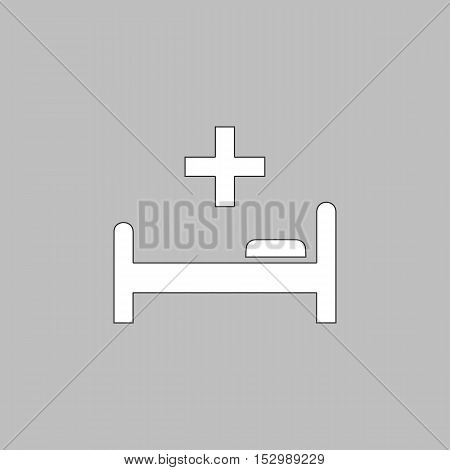 Hospital bed Simple vector button. Illustration symbol. Color flat icon