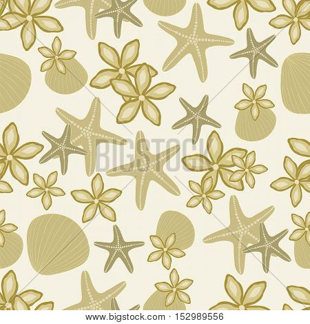 Tropical beach seamless pattern. Sea shells, starfish, flowers in the sand. Vector illustration.