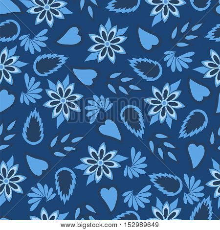 Blue flowers and leaves. Seamless pattern. Vector illustration.
