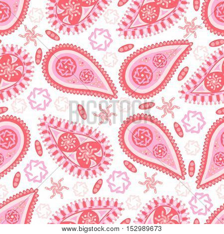 Pink Paisley seamless pattern. Abstract background. Vector illustration.