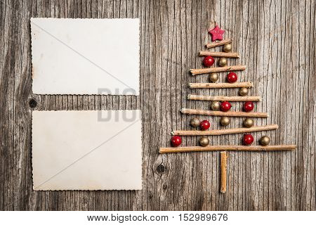 Xmas Tree Made Of Branches And Pearls With Empty Photo Good For Message