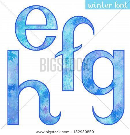 Colorful blue ice frozen watercolor paint alphabet letters E, F, G, H - vector Illustration
