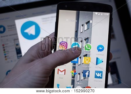 Moscow Russia - October 23 2016: Social network applications on smart phone display.