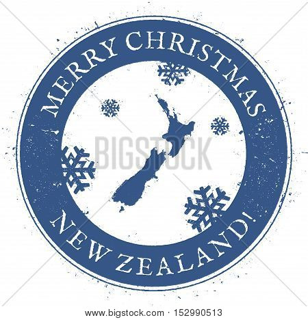 New Zealand Map. Vintage Merry Christmas New Zealand Stamp. Stylised Rubber Stamp With County Map An