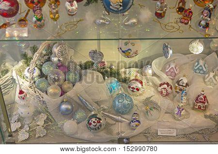 KLIN RUSSIA - JANUARY 16 2016: Museum of Christmas toys. Modern Christmas toys.