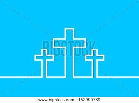 White cross icon. Vector illustration. Three white crosses in line design on blue background. Simple Christian cross sign.
