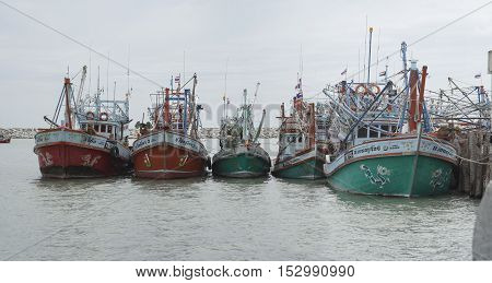 Prachuapkhirikhan THAILAND - 20 October 2016 - Unidentified fishing boat laying at a local port to trade many fish at Prachuapkhirikhan province Thailand on October 20 2016
