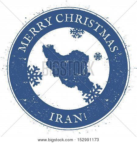Iran, Islamic Republic Of Map. Vintage Merry Christmas Iran, Islamic Republic Of Stamp. Stylised Rub