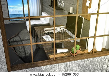 3D Rendering : illustration of view from outside of modern creative workplace.PC monitor on wooden table and wooden room and seaview.curtain and glass window with sunlight shining