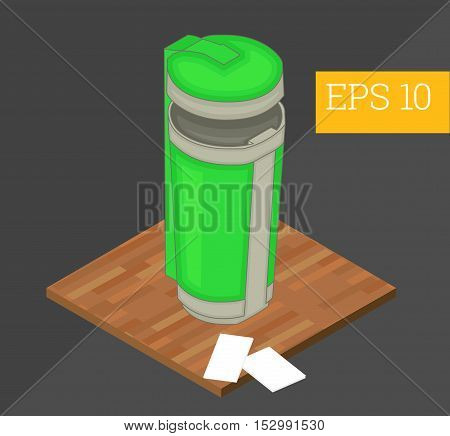 Recycle Container Isometric Vector Illustration