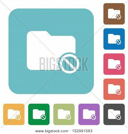 Disabled folder flat icons on color rounded square backgrounds