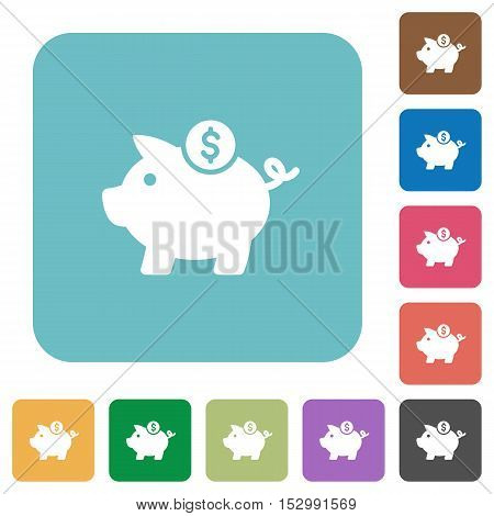 Dollar piggy bank flat icons on color rounded square backgrounds