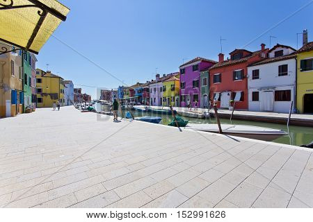 The Burano island with traditional colorful houses