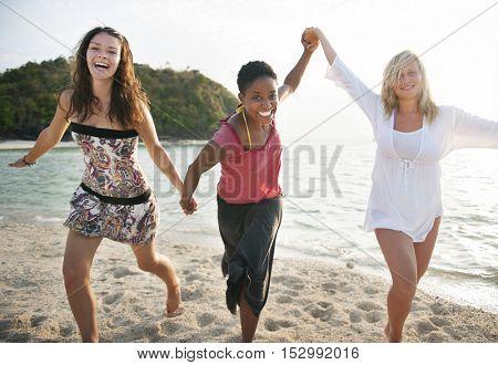 Girl Women Beach Fun Enjoyment Leisure Concept