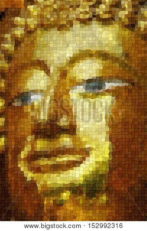 Face The Big Golden Buddha Statue Mosaic Style