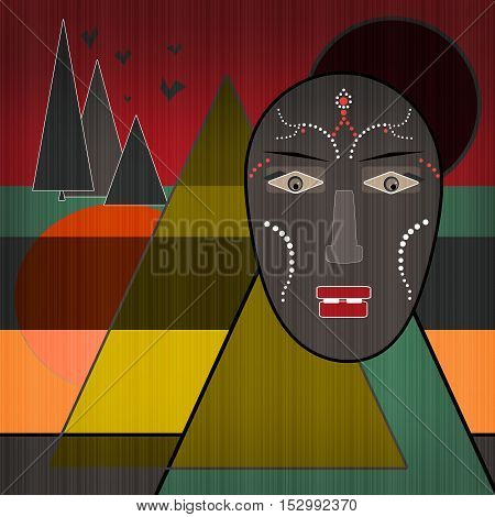 Background with African design elements and mask print