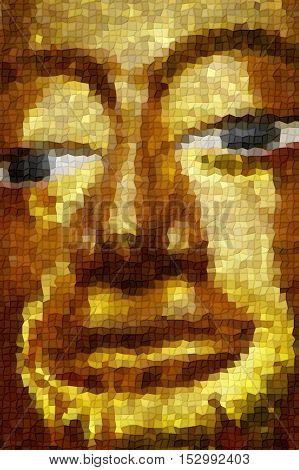 Hand The Big Golden Buddha Statue Mosaic Style