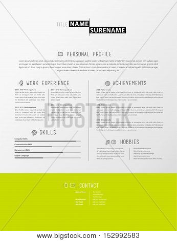 Creative simple cv template with green stripe in footer.