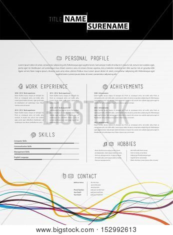 Creative simple cv template with black stripe in header and colorful lines in footer.