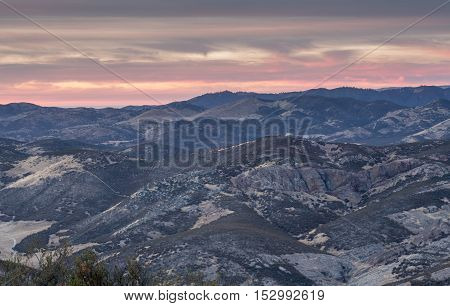 Sunset over Salinas Valley from Chalone Peak Trail at Pinnacles National Park, California, USA