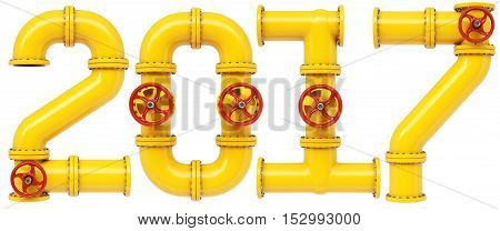 new 2017 year from gas pipes. Isolated on white background. 3D illustration.