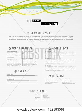 Creative simple cv template with colorful lines in header.